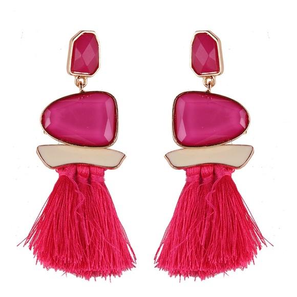 269506a4b Royalty Jewels Jewelry | Dark Pink Stoned Statement Tassel Earrings ...